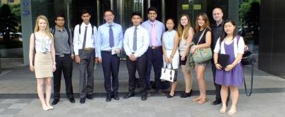 High school students stand outside a local lawfirm on their Law and Business internship in China